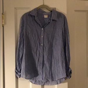 """Blue and white gingham """"perfect shirt"""" J Crew, M"""